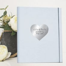 A4 Luxury Wedding Planner/Organiser featuring Personalised Silver Metallic Heart - Engagement Gift